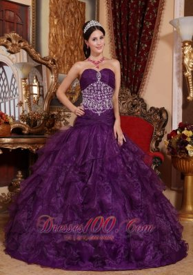Puffy Popular Purple Quinceanera Dress Sweetheart Organza Beading A-line