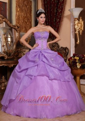 Puffy New Lavender Quinceanera Dress Strapless Organza Beading Ball Gown