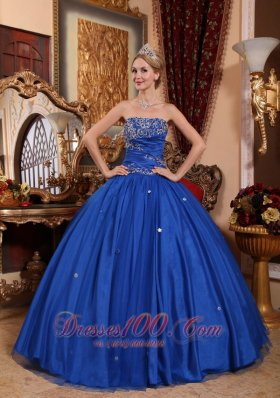 Puffy Popular Blue Quinceanera Dress Strapless Taffeta and Tulle Appliques Ball Gown
