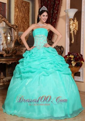 Puffy Romantic Turquoise Quinceanera Dress Strapless Organza Appliques Ball Gown