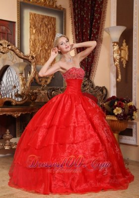 Puffy Pretty Red Quinceanera Dress Strapless Taffeta and Tulle Beading Ball Gown
