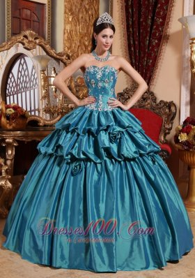 Puffy Luxurious Teal Quinceanera Dress Sweetheart Taffeta Appliques Ball Gown