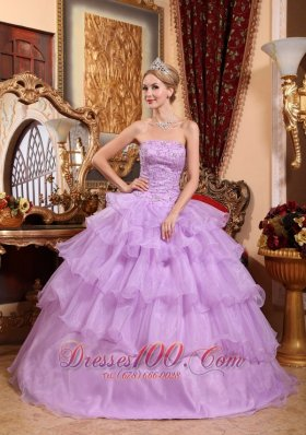 Puffy Lovery Lavender Quinceanera Dress Strapless Organza Beading Ball Gown