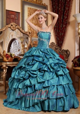 Puffy Popular Teal Quinceanera Dress Strapless Taffeta Appliques and Pick-ups Ball Gown