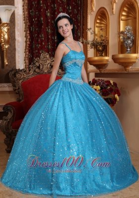 Puffy Blue Ball Gown Spaghetti Straps Floor-length Sequined ...