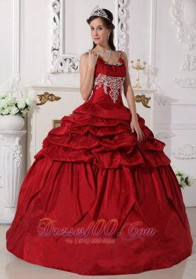 Puffy Gorgeous Wine Red Quinceanera Dress Scoop Taffeta Beading Ball Gown