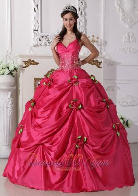 Puffy Luxurious Hot Pink Quinceanera Dress Spaghetti Straps Taffeta Beading Ball Gown