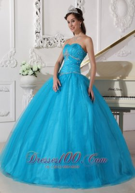 Puffy Romantic Teal Quinceanera Dress Strapless Tulle Beading and Ruch Ball Gown