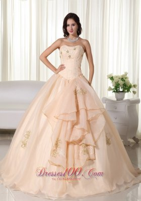 Puffy Champagne Ball Gown Strapless Floor-length Organza Embroidery Quinceanera Dress