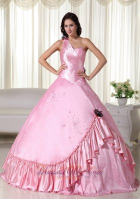 Puffy Baby Pink Ball Gown One Shoulder Floor-length Taffeta Beading Quinceanera Dress