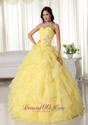 Puffy Yellow Ball Gown Sweetheart Neck Floor-length Organza ...