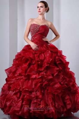 Puffy Wine Red A-Line / Princess Sweetheart Beading and Ruffles Quinceanea Dress Floor-length Organza