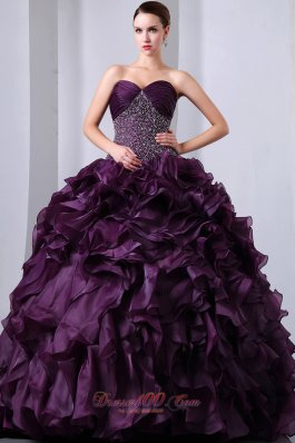 Puffy Dark Purple A-Line / Princess Brush Train Sweetheart Beading and Ruffles Quinceanea Dress Organza