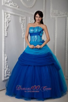 Puffy Pretty Blue Ball Gown Quinceanea Dress Sweetheart Floor-length Tulle Ruch