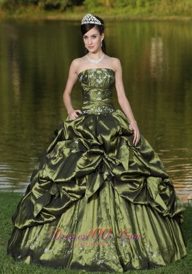 Puffy Custom Size Strapless Quinceanera Dress Beaded Decorate With Olive Green