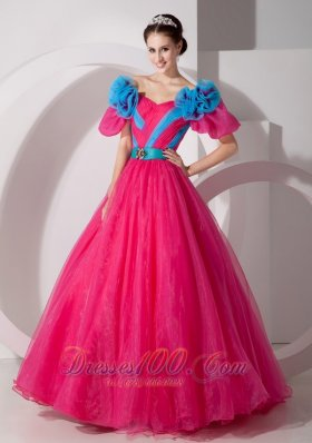 2013 Beautiful Hot Pink Off The Shoulder Quinceanera Dress Hand Made Flowers