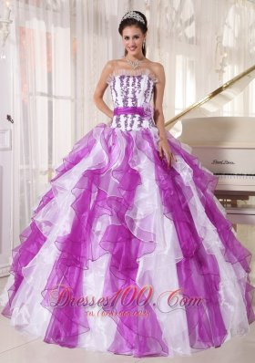 2013 Beautiful Colorful Quinceanera Dress Strapless Organza Beading Ball Gown
