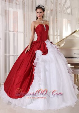 2013 Wonderful Wine Red and White Quinceanera Dress Sweetheart Organza and Taffeta Beading Ball Gown