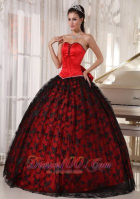 2013 Gorgeous Red Quinceanera Dress Sweetheart Tulle and Taffeta Lace Ball Gown