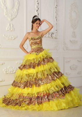 2013 The Most Popular Yellow Quinceanera Dress Strapless Sweep /Brush Train Leopard and Organza Ruffles A-Line / Princess