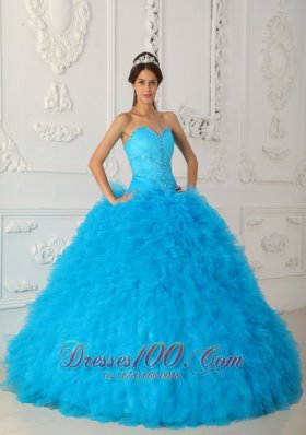 2013 Discount Blue Quinceanera Dress Sweetheart Satin and Organza Beading Ball Gown