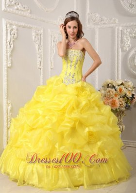 2013 Cute Yellow Quinceanera Dress Strapless Organza Beading Ball Gown