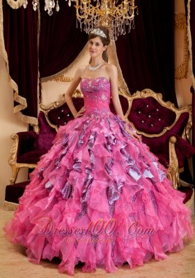 2013 Discount Hot Pink Quinceanera Dress Sweetheart Beading Leopard and Organza Ball Gown
