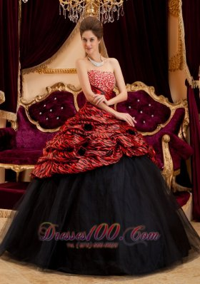 2013 Exquisite Red and Black Quinceanera Dress Strapless Zebra and Tulle Hand Made Flowers Ball Gown