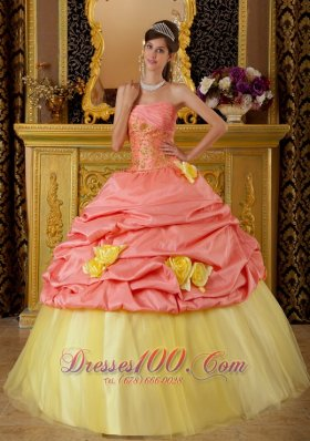 2013 Fashionable Watermelon and Yellow Sweet 16 Dress Strapless Taffeta and Tulle Beading Ball Gown