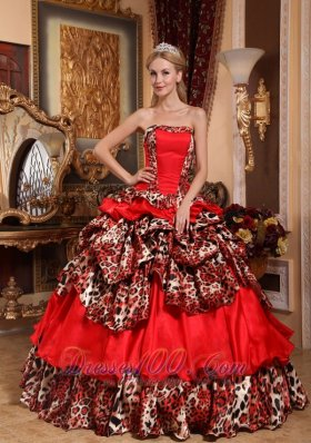 2013 Brand New Red Quinceanera Dress Strapless Taffeta and Leopard Pick-ups Ball Gown