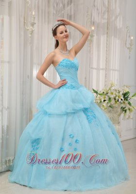 2013 Inexpensive Light Blue Sweet 16 Dress Sweetheart Organza Appliques Ball Gown