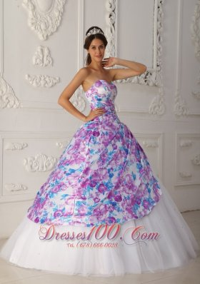 2013 Multi-color A-line Sweetheart Floor-length Tulle Appliques Quinceanera Dress