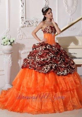 2013 Sweetheart Sweep / Brush Train Leopard and Organza Appliques Ball Gown