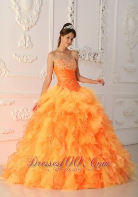 2013 Elegant Orange Red Quinceanera Dress Sweetheart Organza Beading and Ruch Ball Gown