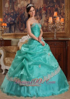 2013 Brand New Turquoise Quinceanera Dress Sweetheart Appliques Organza Ball Gown