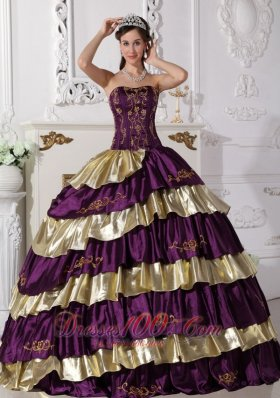 2013 Sweet Purple and Gold Quinceanera Dress Strapless Floor-length Taffeta Embroidery Ball Gown