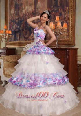 2013 Elegant Quinceanera Dress Straps Hand Flowers Organza and Printing Ball Gown