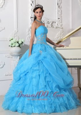 2013 Aqua Blue Ball Gown Strapless Floor-length Organza Beading Quinceanera Dress