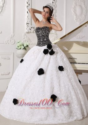 2013 Remarkable White and Black Quinceanera Dress Strapless Special Fabric Sequins and Hand Made Flowers Ball Gown
