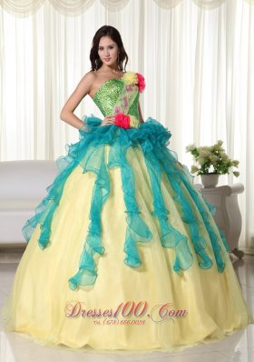 2013 Teal and Yellow Ball Gown Strapless Floor-length Organza Beading Quinceanera Dress