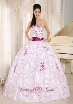 2013 Santa Cruz City White Organza Strapless Quinceanera Dress With Embroidery Decorate
