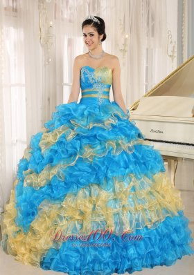 2013 Stylish Multi-color 2013 Quinceanera Dress Ruffles With Appliques Sweetheart In Neuqun