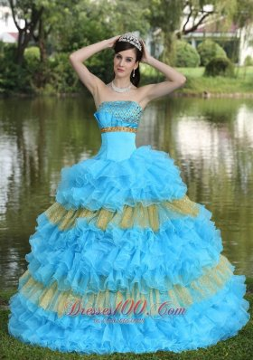 2013 Beaded Decorate Bust Sequins Organza Aqua Blue and Yellow Strapless Floor-length Tiered Sweet Quinceanera Dress For 2013
