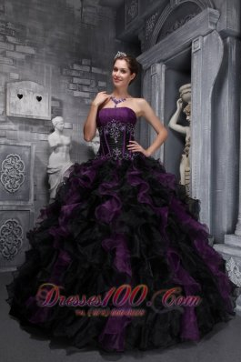 2013 Exclusive Dark Purple and Black Quinceanera Dress Strapless Taffeta and Organza Appliques and Ruffles Ball Gown