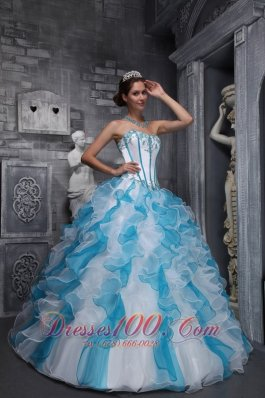 2013 Sweet White and Sky Blue Quinceanera Dress Sweetheart Taffeta and Organza Appliques Ball Gown