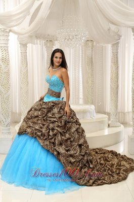 2013 Leopard and Organza Beading Decorate Sweetheart Neckline Exquisite Style For 2013 Quinceanera Dress