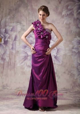 Best Beautiful Eggplant Purple Column One Shoulder Prom Dress Taffeta Beading And Hand Made Flowers Floor-length