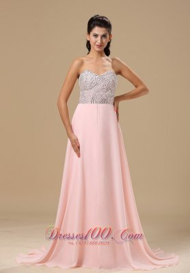 Best Missoula Beaded Decorate Up Bodice Sweetheart Neckline Light Pink Chiffon Brush Train 2013 Prom Celebrity Dress