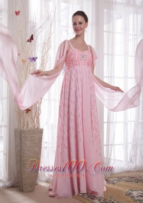 Best Pink Empire Straps Watteau Train Chiffon Beading and Sequins Prom / Evening Dress