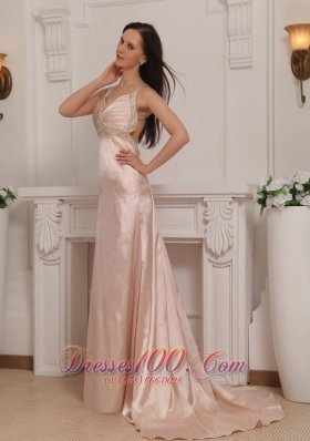 Best Light Pink Column Straps Brush Train Taffeta Beading Prom / Pageant Dress